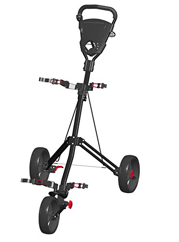 Best Review Of Spin It Golf Products Easy Roll Push Cart, Black