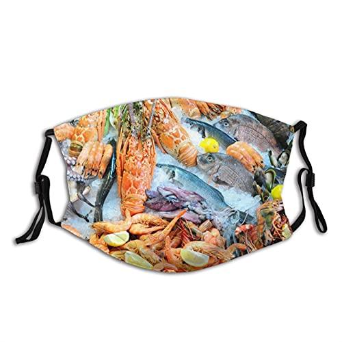 Máscara facial cómoda mariscos pescados camarones cangrejo langosta limón calamar a prueba de sol moda Bandana Headwear para la pesca