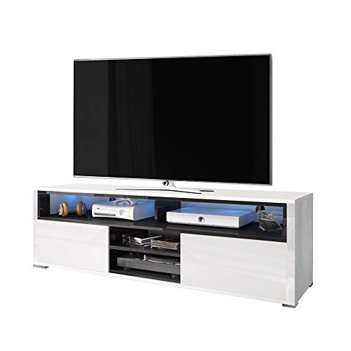 Selsey Mario - Meuble TV/Banc TV (140 cm, Blanc/Noir, avec LED)