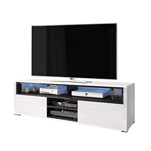 Selsey TV-Lowboard, Weiß/Schwarz, 137 x 33 x 42,5