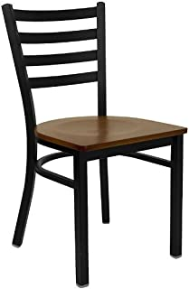 HERCULES Series Black Ladder Back Metal Restaurant Chair - Cherry Wood Seat [XU-DG694BLAD-CHYW-GG]