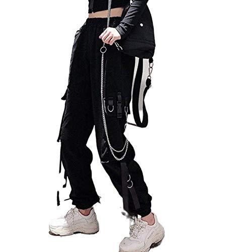 Pantalones de carga para mujer, cintura elástica, hebilla de cinta, bolsillo jogger alta ropa de calle Harajuku pantalón punk anillo cadena mujer pantalones - negro - Medium