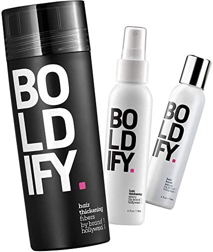 Hair Fiber Dark Brown Thickening Spray Serum Boldify Nourish Conceal Bundle product image