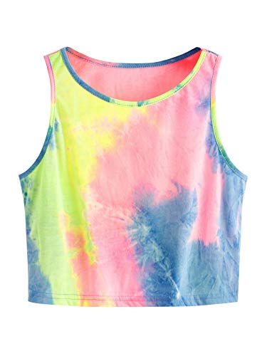 SweatyRocks Women's Tie Dye Sleeveless Workout Casual Cropped Tank Top Shirts Pink Blue S