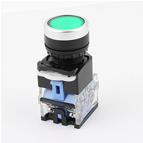 Aexit AC 660V Shaft Collars 10A 1NO 1NC DPST Latching Green Flat Head Push Heat Shrinkable Shaft Collars Button Switch