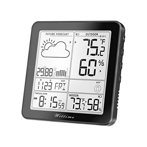 Wittime 2180 Weather Station, Indoor Outdoor Thermometer Wireless, Weather Thermometer Clock with Backlight LCD Display, Forecast Station with Barometer