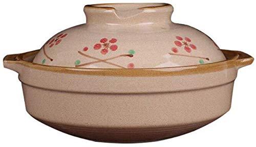 KTDT Tontopf, japanische Kirschblüte Keramik Auflauf Auflauf Haushaltsgas handbemalt kleine 650 ml kreative Suppe Topf nach japanischer Art geschmort, Messing