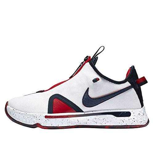 Nike Pg 4 Hombres Baloncesto Moda Zapatilla De Deporte Cd5079-101, blanco (blanco/rojo), 45 EU