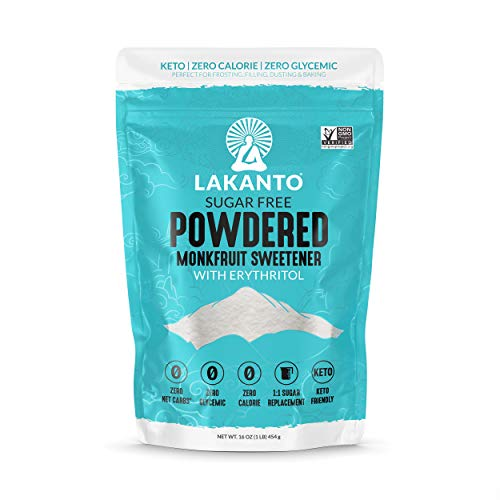 Lakanto Monkfruit Sweetener, 1:1 Powdered Sugar Substitute, Keto, Non-GMO (1 lb)