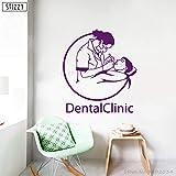zhuziji Sticker Mural Clinique Dentaire Vinyle Stickers Muraux Dentiste Dents Hôpital Intérieur Fenêtre Décor Docteur Amovible Affiche 888-5 69x78 cm