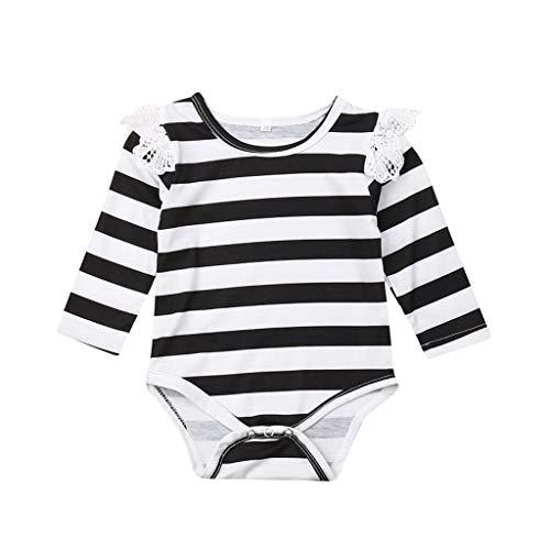 Kobay Kleinkind Baby Langarm Lace Striped Printed Strampler Infant Jumpsuit Neugeborenes Baby Langarm gestreiften Print Strampler