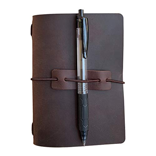 Refillable Leather Travelers Notebook - Passport Size Travel Journal with Lined Insert, 4 x 5.5 Inches, Dark Brown Photo #3