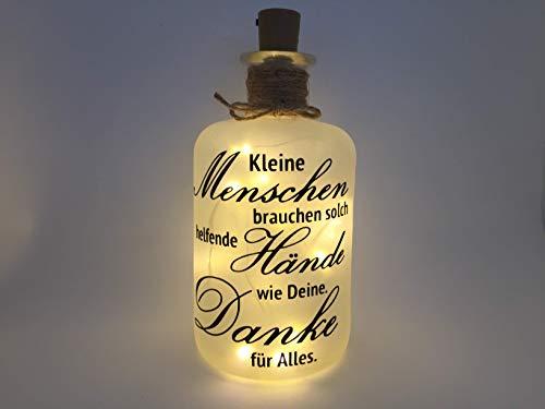 Farbwuselei Flaschenlicht Kleine Menschen brauchen solch helfende Hände wie Deine. Danke für Alles. Bottlelight Dekoflasche Beleuchtung LED Leuchtflasche Lichterkette Geschenk Homedeco modern