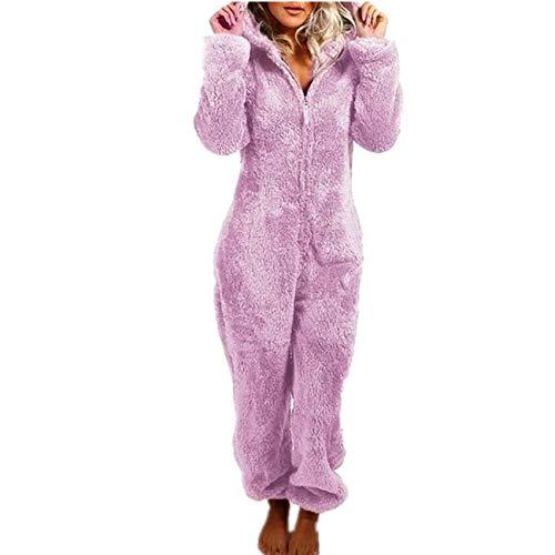 Pijamas con Capucha De OtoñO/Invierno para Mujer con Mono De Felpa Gruesa De Felpa 7 Colores