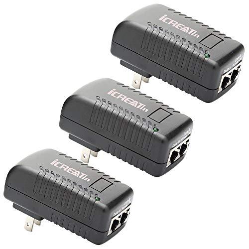 iCreatin Enchufe de Pared inyector PoE con Fuente de alimentación de 48 V 802.3af para la mayoría de teléfonos Cisco/Polycom/Aastra y más