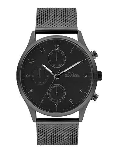 s.Oliver Herren Analog Quarz Uhr mit Edelstahl Armband SO-4059-MM