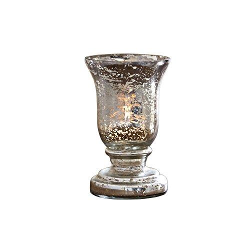 Loberon Windlicht Catus, Glas, H/Ø ca. 14/9 cm, antiksilber