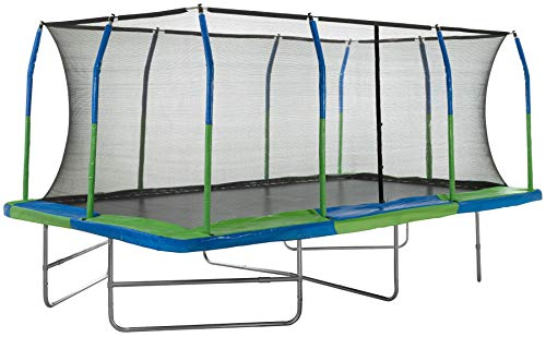 10' x 17' Outdoor Trampoline with Fiber Flex Enclosure System, Big Trampoline for Kids,Great Exercise Rectangular Adult Trampoline (10' x 17' Rectangle - Steel, Non Coated, No Ladder/Blue-Green)