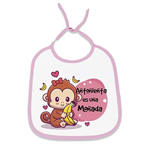 Babero personalizado diseño original con el nombre de tu bebé (Mono banana, Niña)