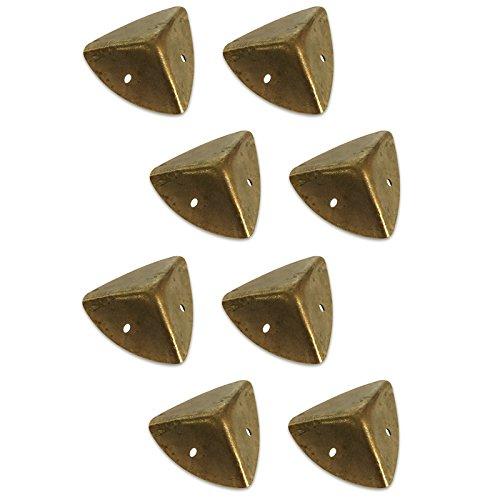 Creative Deco 8 x Brust Koffer Koffer Schutz Ecken | 1,6 x 1,6 x 1,6 cm | Braun/Gold | perfekt für alle unsere Boxen