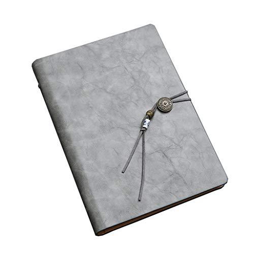 Cuadernos Cuaderno de Negocios Estilo Chino Simple A5 Hoja Suelta Cuaderno de Trabajo Grueso Negocio portátil Registro 80 páginas Blocs de Notas y Diarios (Color : Gray, tamaño : 14.2 * 20.8cm)