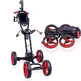 Electric Golf Trolley Cart Foldable Golf Push Pull Cart with Handbrake, Adjustable Push