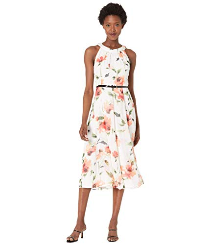 Tommy Hilfiger Women's Midi Dress, Ivory/Bloom, 10