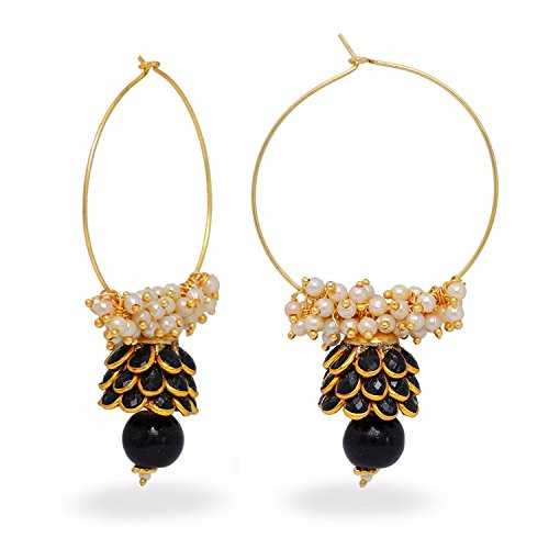 Gold Tone Indian Bollywood Ethnic Designer Black Jhumka Jhumki Earrings Jewellery for Girls/Women