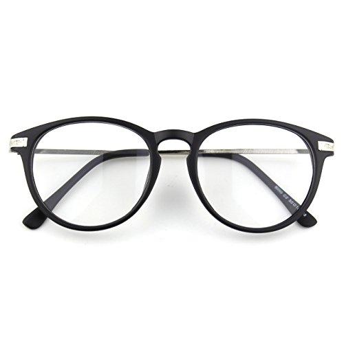 CN92 Klassische Nerdbrille rund Keyhole 40er 50er Jahre Pantobrille Vintage Look clear lens, B Matte Schwarz, 47