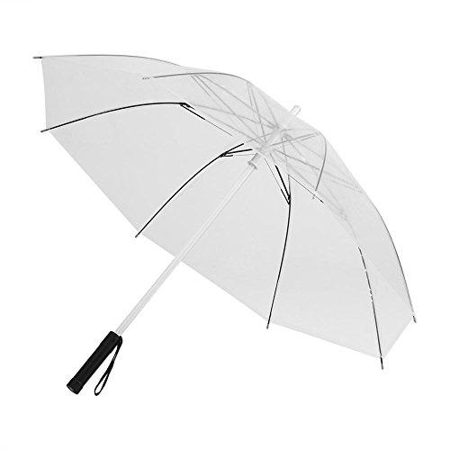 Garsent LED Regenschirm, 7 Farbwechseln Regenschirm mit Taschenlampe für Nacht Wandern(weiß)
