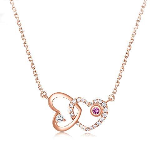 NHGF Collar de Mujer, Collar de corazón de Anillo Doble, Cadena de clavícula Corta de Plata esterlina S925 con Corazones de Diamantes(Rose Gold Heart Necklace)