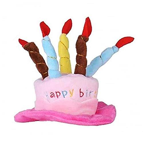 shentaotao Haustier-Geburtstags-Hut-Kuchen und Kerzen Design Hut für kleine Katzen und Hunde Kostüm Zubehör für Party-Rosa