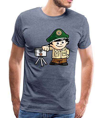 Mainzelmännchen Conni Als Polizist Männer Premium T-Shirt, M, Blau meliert