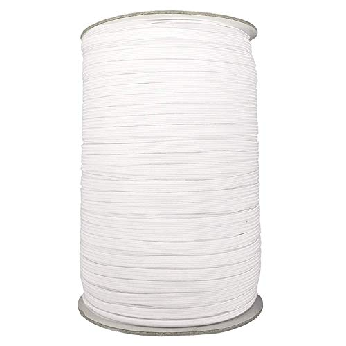 25m x 12mm White Flat Woven Elastic Band for Sewing, Knitting, Waistbands and Arts & Craft by Trimming Shop