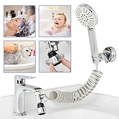 Sink Sprayer Faucet Hose Attachment, Kitchen Faucet Spray Replacement with Diverter and Aerator Head, Bathtub Faucet Shower Set with Recoil Hose for Bathroom Sink Hair Washing and Pet Shower