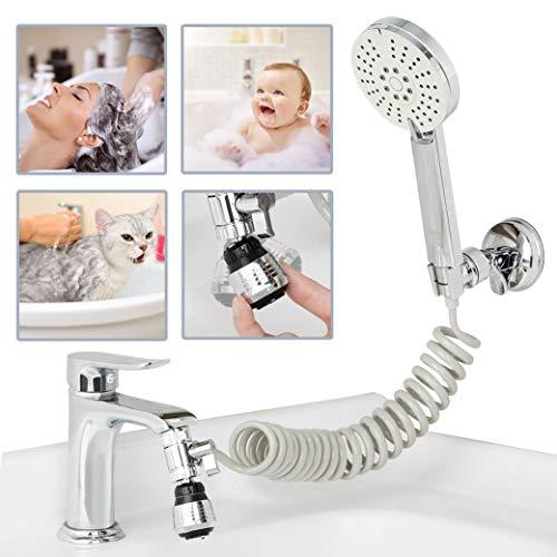 Sink Faucet Sprayer Attachment Kitchen-Bathroom-Utility - Shower Head to Bathtub/Garden for Pet Dog Rinse & Hair Washing & Baby Bath, Recoil Hose replacement for Moen, Kohler, Delta, American Standard
