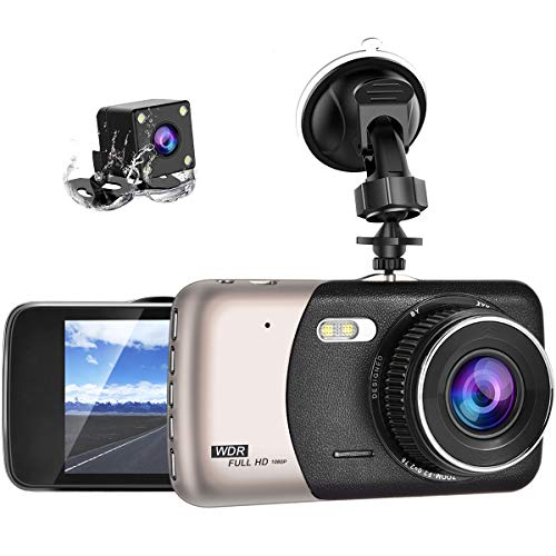 Dash Cam Front and Rear WZTO Backup Camera Dashboard Camera 170°Wide Angle Car DVR with 4'' LCD Screen Dual Dash Cam with Night Vision WDR G-Sensor Parking Monitor Loop Recording Motion Detection