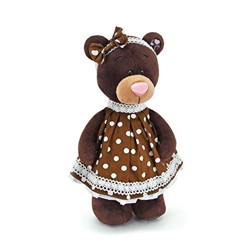 Orange Toys m5052/30 – Milk Debout dans Une Robe getupften, Doudou pour Adultes et Enfants dans Emballage Cadeau, 30 cm, Marron/Blanc