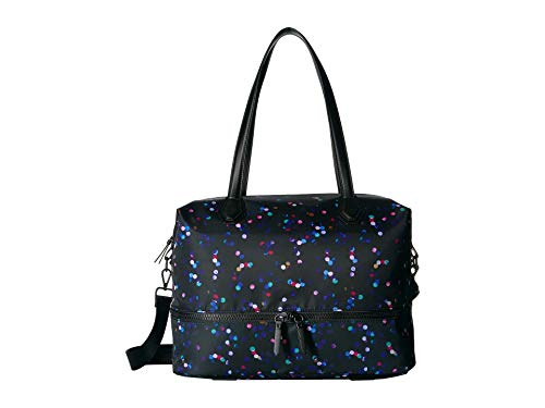 London Fog Vinyl Weekender Bag Black Dot Print One Size
