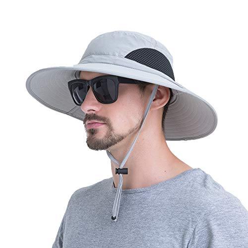 Sommerlicher atmungsaktiver Mesh-Hut mit breitem Rand Fischerhut mit verstellbarem Kordelzug zum Wandern, Traving, Outdoor.Momoon, Hellgrau, Kopfumfang: 60 cm