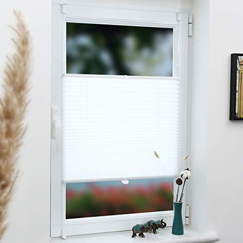 Grandekor Plissee Klemmfix Faltrollo ohne Bohren 40x100cm (BxH) Weiß, Kinderleichte Montage, Jalousie Plisseerollo Sichtschutz und Sonnenschutz für Fenster & Tür
