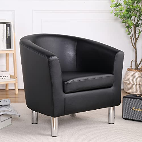 Camden Leather Tub Chair Armchair Dining Living Room Office Reception Black