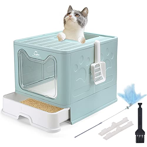 HelloMiao Cat Litter Box ,Cat Toilet,Half Fully Enclosed Deodorant Cat Litter Bowl with Plastic Scoop, Foldable Large Cat Toilet with Lid, for Cats Under 8 Kg (17.6 Ib) (Blue)