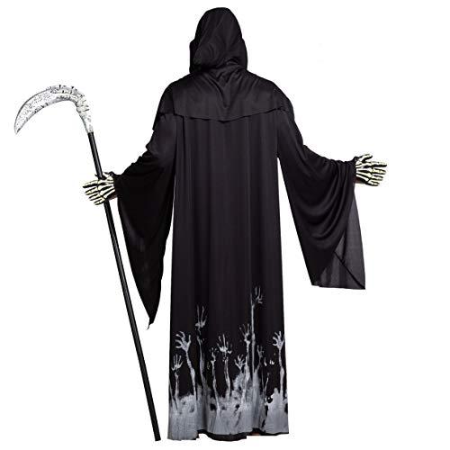 Spooktacular Creations Grim Reaper Scary Skeleton Disfraces de Halloween con patrn de brillo para hombres (Medium ( 8- 10 yrs))