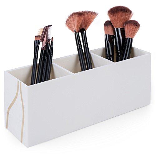 Vencer Makeup Brush Holder Organizer | 3 Slot Cosmetics Brushes Storage Solution,Beige,VMO-031