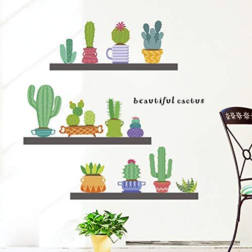 YLGG Cactus Bonsai Wandaufkleber für Kindergarten, Kinderzimmer, Schlafzimmer, Wohnzimmer, Schaufenster,etc.