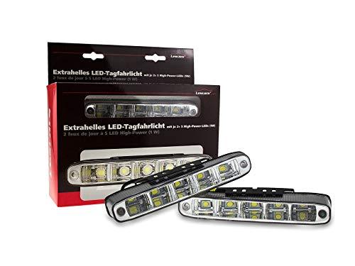 Lescars 5 Watt LED Tagfahrlicht Weiß 6000K abgeschrägt inkl. Relais E-Prüfzeichen