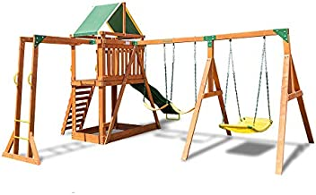Sportspower Olympia Wood Swing Set with 3 Swings, Slide, and Monkey Bars, Natural/Green