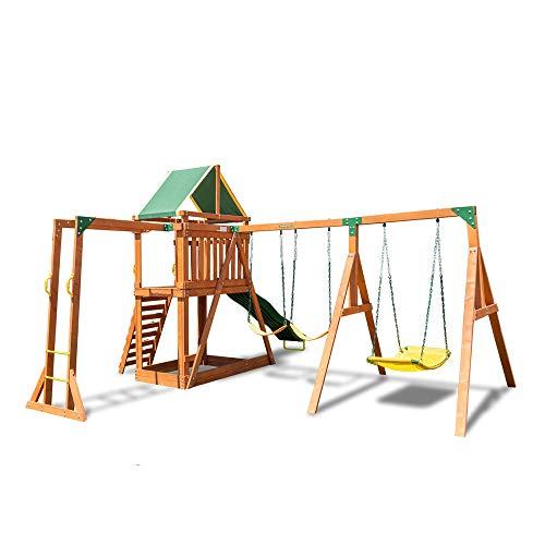Sportspower Olympia - Juego de columpios de madera con 3 columpios, diapositivas y barras de mono, color verde y natural