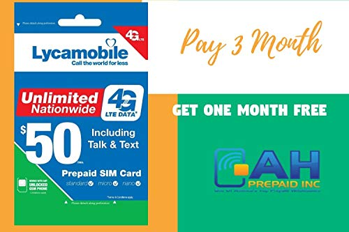 Lycamobile $50 Plan Include 4 Month Service with Unlimited 4G LTE Data Pluse Free $10 ValueAll in One USB Charging Cable